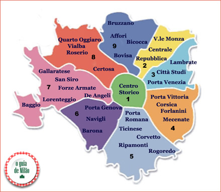 Mapa de Milão