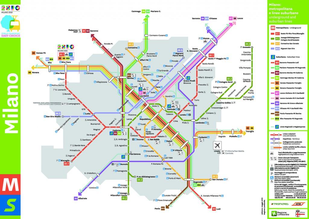 Mapa do Metrô de Milão 2015