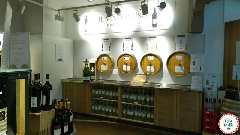 Seção de vinhos - Eataly