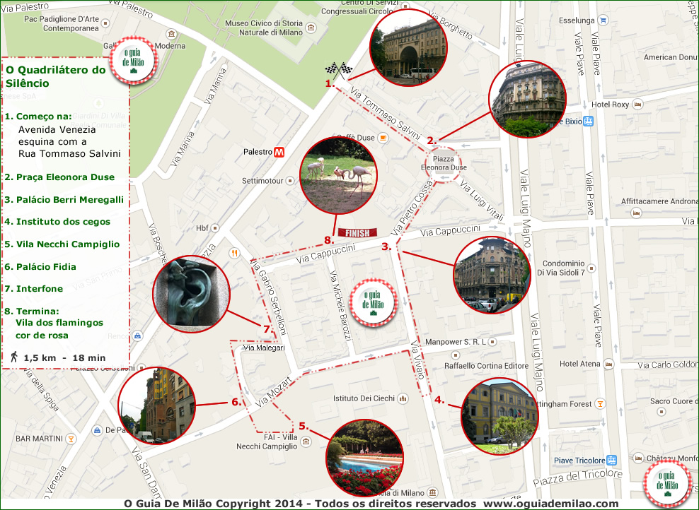 Percurso do Quadrilátero do Silêncio em Milão