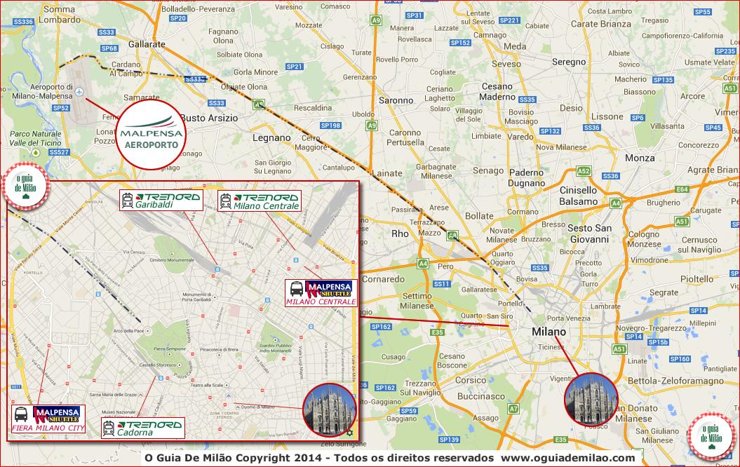 As opções de transporte do aeroporto Malpensa até o centro de Milão