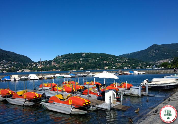 Pedalinho no lago de Como