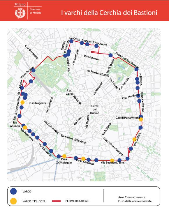 Onde começa a área C em Milão mapa das ruas