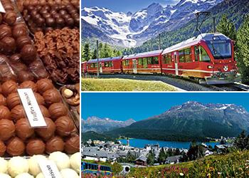 Tour excursão Bate volta Milão a St.Moritz viagem panorâmica Bernina Express património mundial da UNESCO