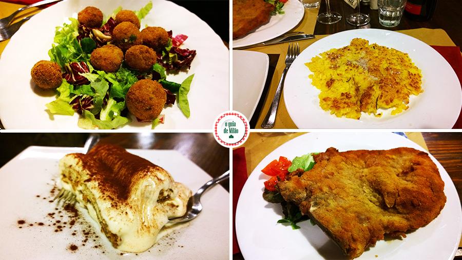 Onde comer barato em Milão Cotoletta alla milanese Arroz com açafrão Tiramisu