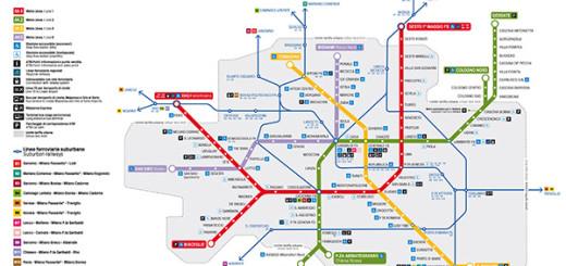Mapa do metrô de Milão Itália.