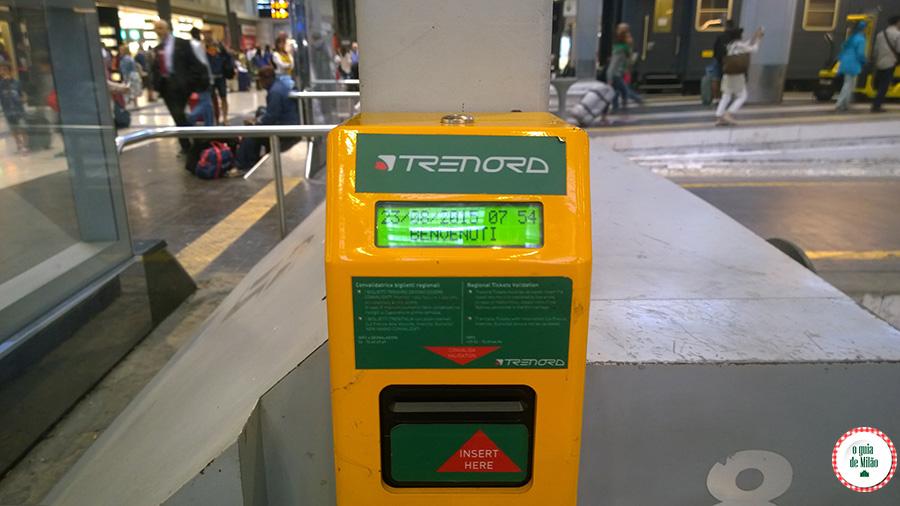 Validar o bilhete estação central de Milão